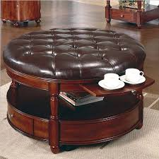 furniture round ottoman coffee table with leather seat and wooden material also built in drawer beautiful