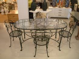 chair including black wrought iron oval glass top dining room tables archaic