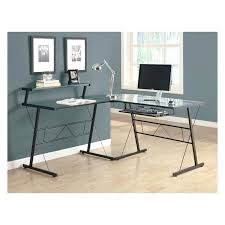 tempered glass office desk. Tempered Glass Office Desk Monarch Black Metal L Shaped Computer With .