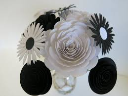 Paper Flower Stems Black And White Paper Flower Bouquet 9 Card Stock Flowers On Stems