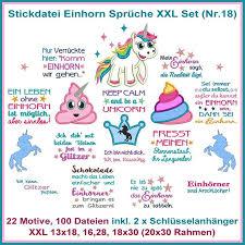Stickdatei Einhorn Xxl Sprüche Set Nr 18 Stickmuster Etsy