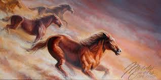 finished born free wild horses painting