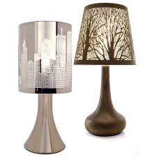 bedside table lamps chrome touch lamp dimmer light new york city skyline brushed nickel black and white large bedroom modern night side end sets turquoise