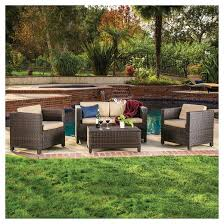 Puerta 4pc Outdoor Wicker Sofa set Christopher Knight Home Tar