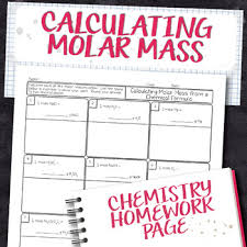 Calculating The Molar Mass From Chemical Formula Chemistry Homework Worksheet