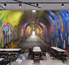 office graffiti wall. 3d graffiti tunnel buniess office wall murals wallpaper art decals prints idcwpty