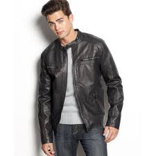 lyst calvin klein jeans faux leather moto jacket in black for men