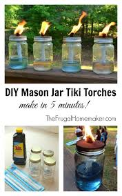 Would be great with wine bottles around the fence in the backyard! DIY Mason  Jar Tiki Torches~You can make your own tiki torch by using a jar, oil, ...