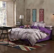 europe purple single double queen king size bed set pillowcase quilt duvet cover
