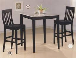 Black Finish Granite Top Counter Height 3 Piece Bar Table Set by Coaster -  5868