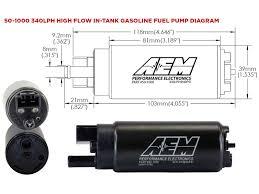 340lph high flow in tank fuel pump offset inlet aem 50 1000 340lph high flow in tank dimensional drawing