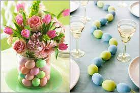 table centrepiece for easter lunch