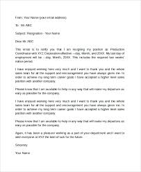 7+ Sample Email Resignation Letters | Sample Templates