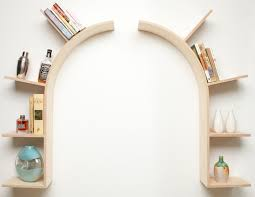 Curved floating shelf as doorframe