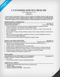 Customer Service Representative Resume Musiccityspiritsandcocktail Com