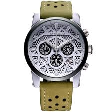 online get cheap green watches aliexpress com alibaba group high quality original brand leather dress mens watch men green white chronograph clocks water resistant