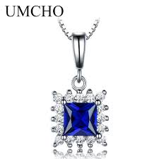 whole umcho blue sapphire gemstone solid genuine 925 sterling silver solitaire pendants for women wedding party gift chain necklaces jewelry design gold