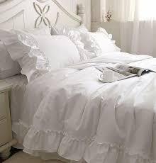 romantic white falbala ruffle lace bedding sets princess duvet cover with comforter set idea 4