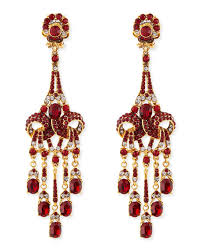 gold plated red crystal chandelier clip on earrings