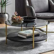 hernip black glass round coffee table
