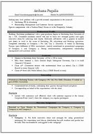 Mba Marketing Resume Resume Template Sample
