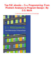 Ds Malik C Programming From Problem Analysis To Program Design Top Pdf_ebooks C Programming From Problem Analysis To