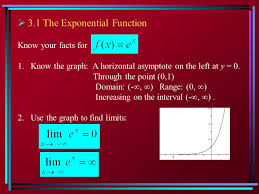 3 1 the exponential function know your facts for 1 know the graph a