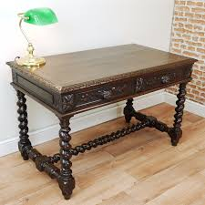 original antique victorian french carved oak library writing desk hall study