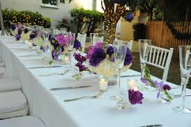 purple pink and white bridal shower table