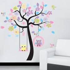 diy owl tree bird wall sticker room decoration for kids nursery room baby decorative backgrounds stickers removable wall stickers for kids rooms removable