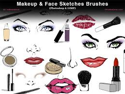 makeup face sketches photo and gimp brushes by redheadstock