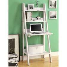 modern gray painted wooden ladder shelf with laptop desk and twin