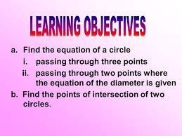 learning objectives find the equation of a circle