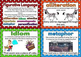 literacy resources writing posters many printables for   printable figurative language posters showing definitions and an example of alliteration hyperbole