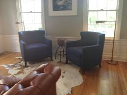 pair of navy blue chairs