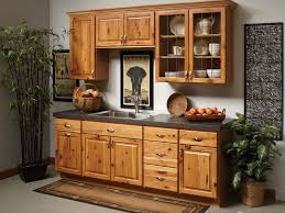 rustic kitchenette with hickory kitchen cabinets