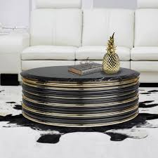 designer gold plated round marble coffee table