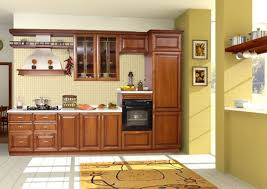 brown wooden kitchen cabinet with white countertop and cream
