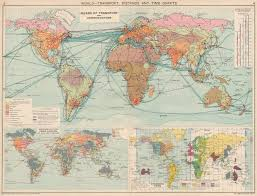 World Transport Distance Time Chart From London Standard Times 1925 Map