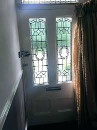 front door with stained glass doors for interior vestibule curtain leaded side panels top fan window