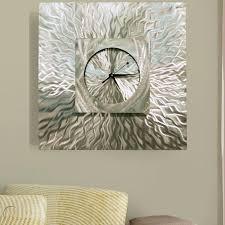 large modern silver wall clock