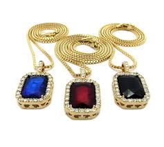 spring summer mens iced out hip hop red ruby black onyx blue green pendant