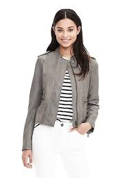 banana republic gray leather moto jacket size m petite seal gray