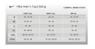 Nike Size Chart Mens Clothing Prosvsgijoes Org