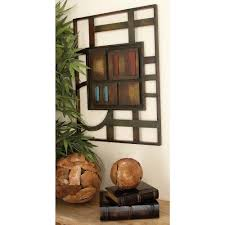 contemporary multicolored abstract geometric iron wall