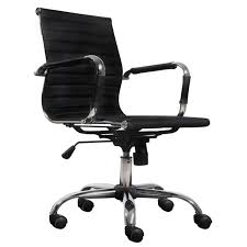 modern black faux leather office chair