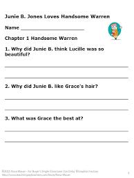 Junie B. Jones Loves Handsome Warren Reading Comprehension Unit ...
