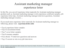 Assistant Marketing Manager Cover Letter Assistant Marketing Manager Job Description Online Template