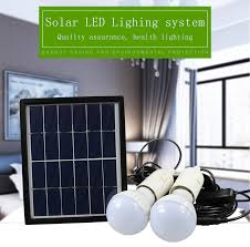 portable led outdoor solar lights system kit waterproof 2 bulbs mobile phone power bank rechargable battery camping lighting in solar lamps from lights