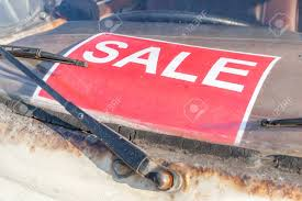 Automobile For Sale Sign Red Sale Sign Stick On Grungy And Old Used Car Windshield Automobile